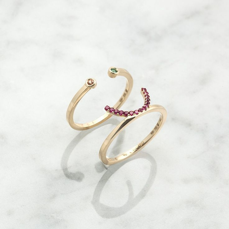 The Visage Iris Ring 18ct Gold, Ornage Sapphire and Tsavorite | RUIFIER Jewellery
