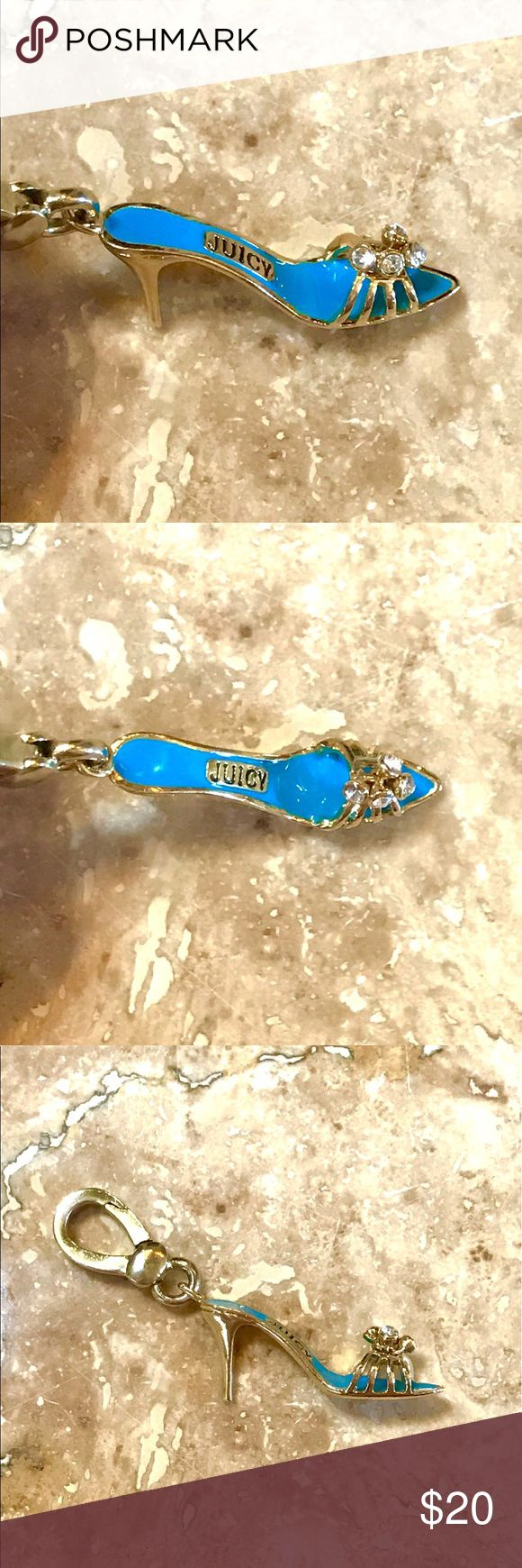 Juicy Couture High Heel blue gold shoe Charm Juicy Couture High Heel shoe Charm. Gold tone with blue enamel. No chips in enamel. Engraved with Juicy Couture with crown on the bottom of the shoe. Front of shoe has 4 dangling jewels that move. Super Cute. Juicy Couture Jewelry