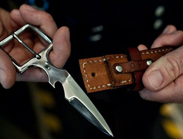 Bowen Knife Company has built a knife on the opposite end of a belt buckle. The knife slides right into the back of their specially designed belts for a nice conceal carry. The video shows the knife in action.