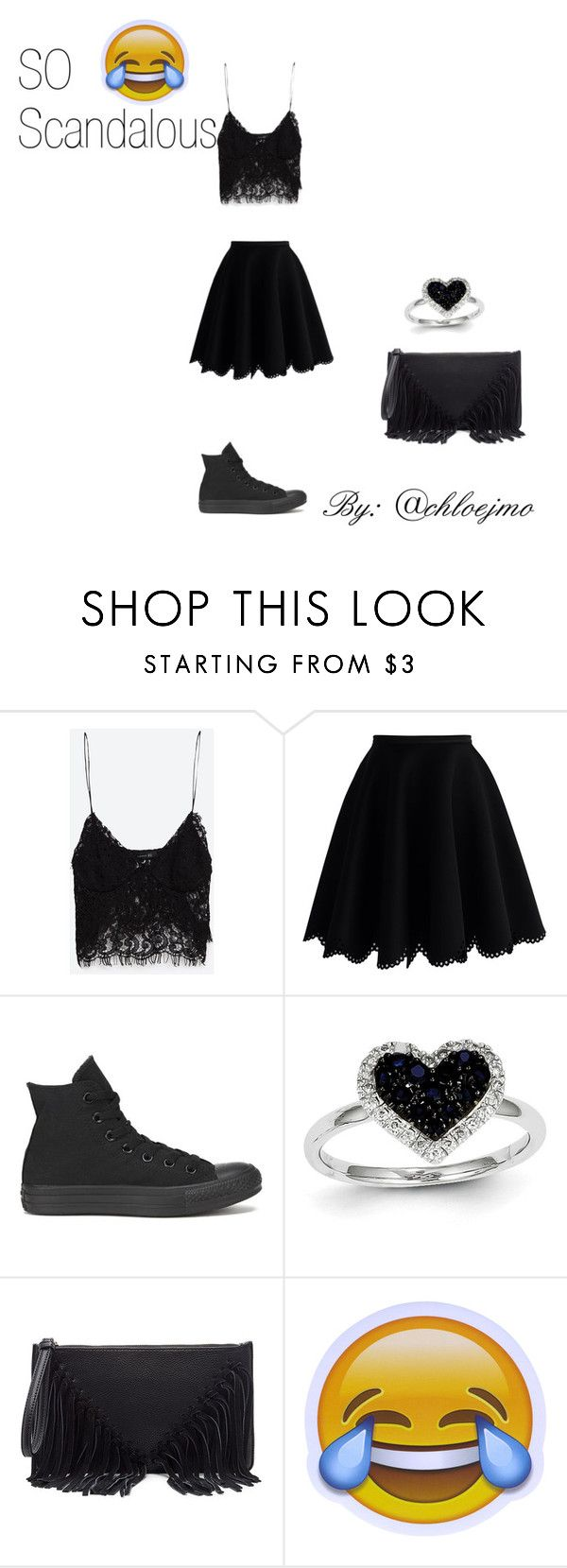 """""""So Scandlous"""" by chloejmo ❤ liked on Polyvore featuring Zara, Chicwish, Converse, Kevin Jewelers and Sole Society"""