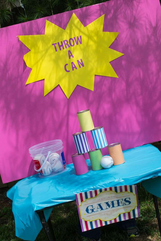 Hit the cans game at a circus birthday party! See more party planning ideas at CatchMyParty.com!