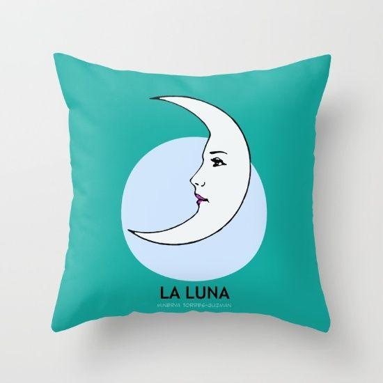 la luna, mexican, loteria, card, moon, blue, crescent