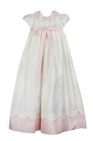Beautiful White and Pink Christening Gown available at Marco & Lizzy #MarcoAndLizzy #Gown #ChildrensClothing #Silk www.marcoandlizzy.com