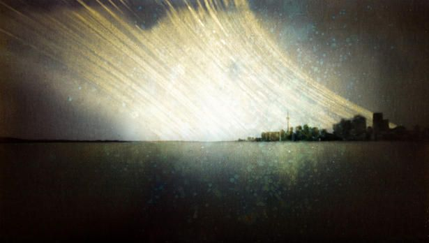 year long exposure with sunlight trails of the toronto skyline - by Michael Chrisman