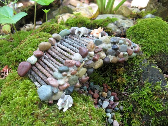 Wonderful Fairy Garden Miniature Stone Bridge Handcrafted From Pebbles And Twigs On  Etsy, $30.00