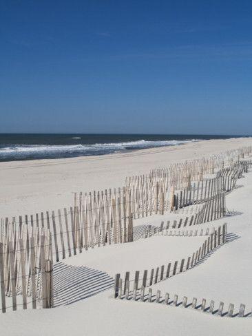 USA, New York, Long Island, the Hamptons, Westhampton Beach, Beach Erosion Fence Photographic Print