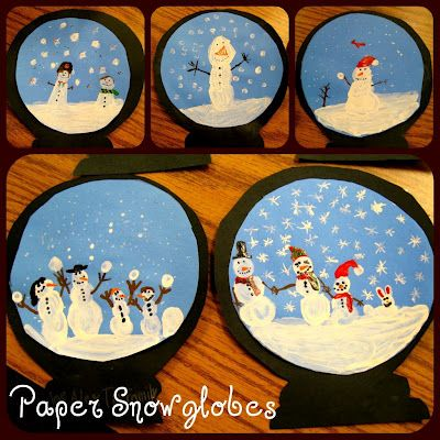 "Paper snowglobes: Afix pictures of children for ""If I were stuck in a snow globe!"