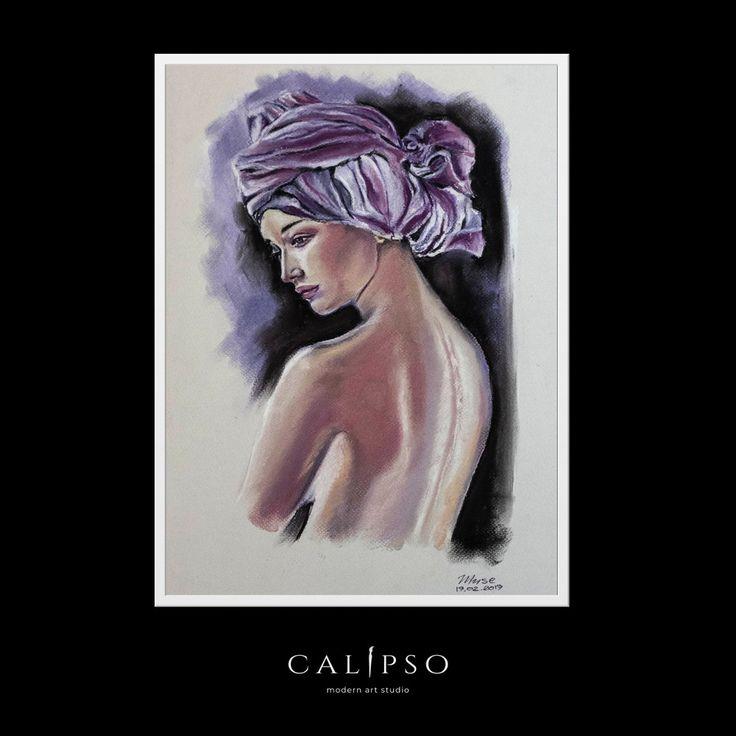 original nude women pastel drawing 70D akt zeichnung erotik kunst fille nue #Modern