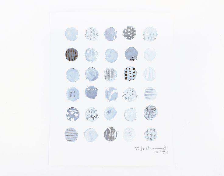 "From ""The Tile work Series"": Koishi hiroi → Collecting Pebbles  シリーズ:小石とタイルのかけらたち より こいしひろい  (2015) ファブリアーノ紙 350g に アクリル絵具と鉛筆 350x300mm  ☆Commissioned work☆"