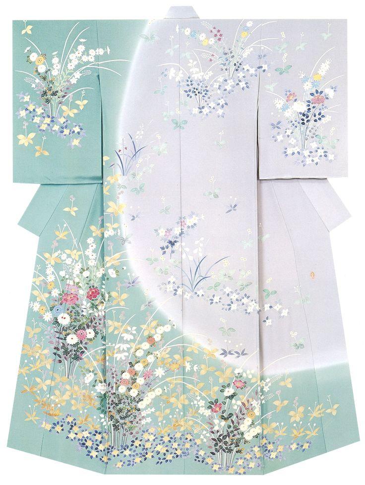 """Beautiful Kimono - material dyeing known as """" Kagayuzen dyeing """""""