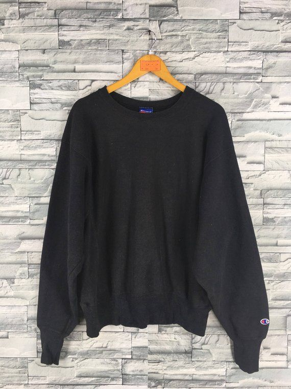 c4dfd4c5 Vintage CHAMPION Jumper Sweatshirts Large 80's Champion Apparel Usa  Sportswear Champion Crewneck Black Sweaters Pullover Size L