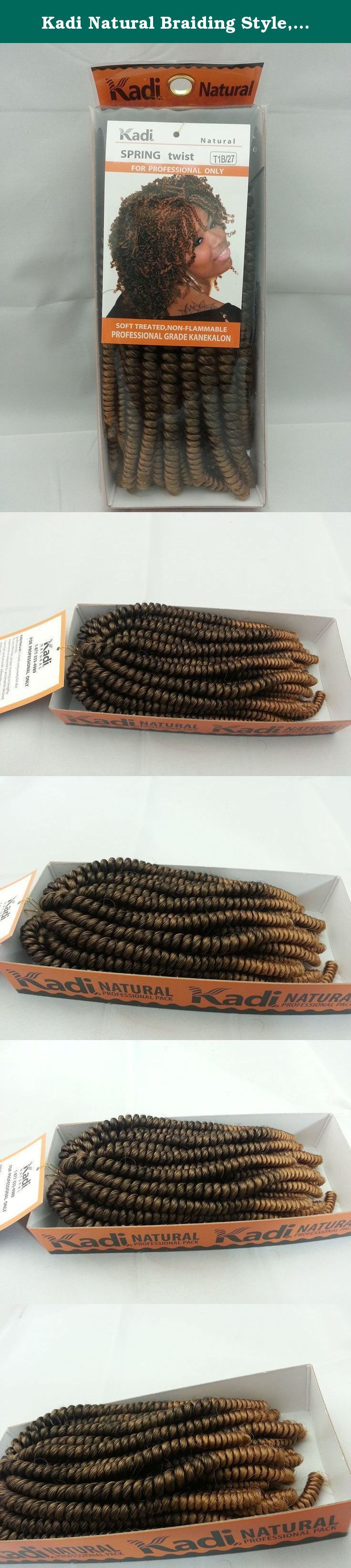 Kadi Natural Braiding Style, Hair Extension, Professional Grade Kanekalon (T1B/27 - Black / Honey Blond, SPRING TWIST). Actual pictures of the item 1. Kadi Spring Twist Kadi Collection Kadi Natural Collection Soft And Bouncy Extremely Soft Fibers Soft Smooth & Incredibly Light Weight Non-Flammable Professional Grade Kanekalon Soft and Bouncy. Elegance, character and originality. Great transitional hairstyle, going from relaxed to natural. The Spring Twist is a protective hair braid that...