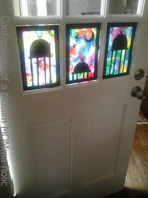 Tissue paper stained glass - great craft for the kids to do and a beautiful way to dress up the house for Eid!