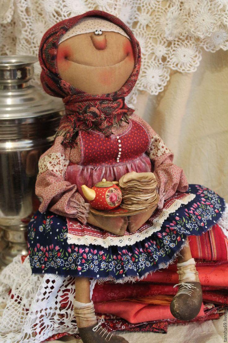 Купить Блинки-блиночки! - комбинированный, текстильная кукла, ароматизированная кукла, интерьерная кукла, деревенский стиль