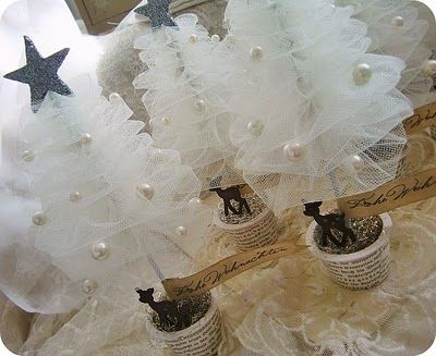 Little tulle Christmas trees decorated with pearls. No tutorial
