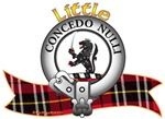 "Little Clan Crest and tartan ""A demi lion Sable powdered with saltires Argent, armed Gules, in dexter paw a cutlass Proper and in sinister a saltire Argent"". Motto is ""Concedo nulli"", translated as ""I yield to no one"". MacRory Mor"