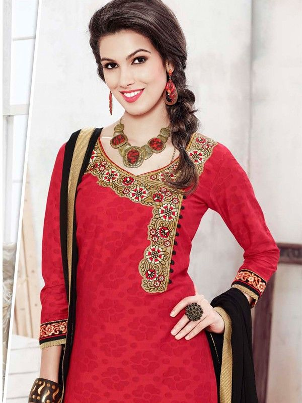 Majestic Red And Black Cotton Jacquard Casual Salwar Suit With Pure Shantoon Bottom Work & Chiffon Dupatta