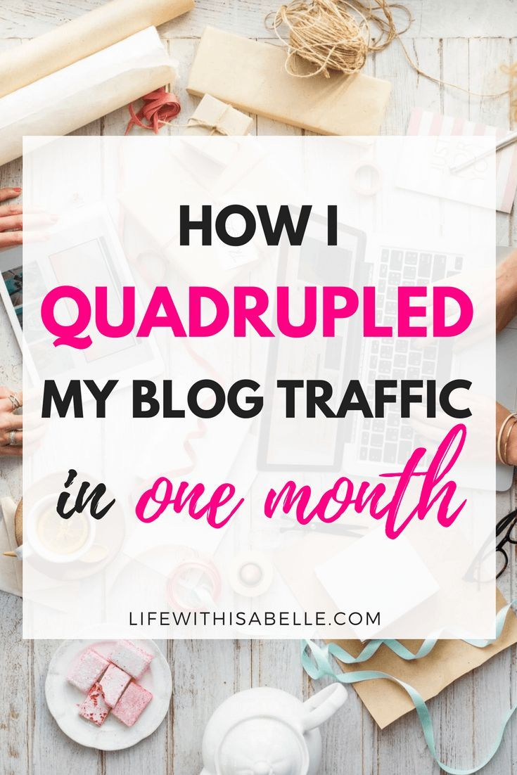 How I quadrupled my blog traffic in one month! The secrets behind my traffic success, and how you can explode your pageviews in just weeks. Includes an exclusive download of the top Pinterest group boards that have helped me get thousands of pageviews and subscribers. #blogging #blogger #blogtraffic #lifewithisabelle