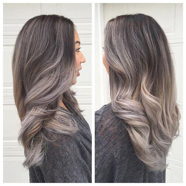 Image Result For Grey Balayage On Dark Hair Ash Blonde Highlights On Dark Hair Gray Balayage Balayage Hair Dark
