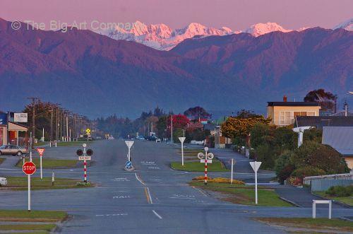 Great views from Hokitika town, NEW ZEALAND SOUTH ISLAND WEST COAST HOKITIKA DUSK LOOKING THE LENGTH OF PARK STREET EAST INLAND TOWARDS THE SOUTHERN ALPS FROM THE HOKITIKA COAST ROAD Antipodean Oceania Scenic Canvas Print | Framed Art | Poster Print