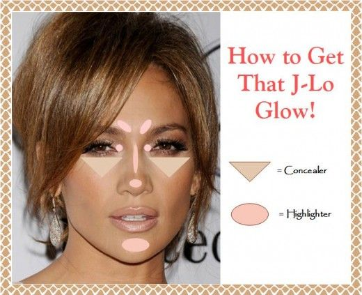 How to Get that J-Lo Glow: Highlighting Map / Tutorial and Product Suggestions for duplicating Jennifer Lopez's famous glowy makeup!