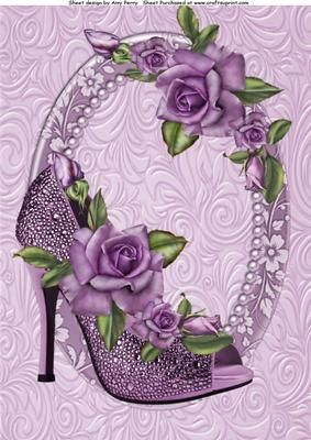 Lovely Lilac Glitzy Shoe With Purple Rose s A4 on Craftsuprint designed by Amy Perry - Lovely Lilac Glitzy Shoe With Purple Rose's A4 in lovely pearly oval frame with matching choice of tag and butterflies also can be seen in A4 and matching verse avaliable - Now available for download!