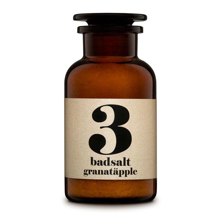 Luxurious Swedish bath salts, No. 3 'pomegranate' fragrance