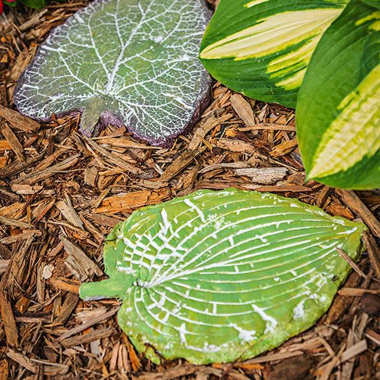 Leaf Stepping Stones Add new dimension to your garden path with stepping-stones made of clever concrete shapes.