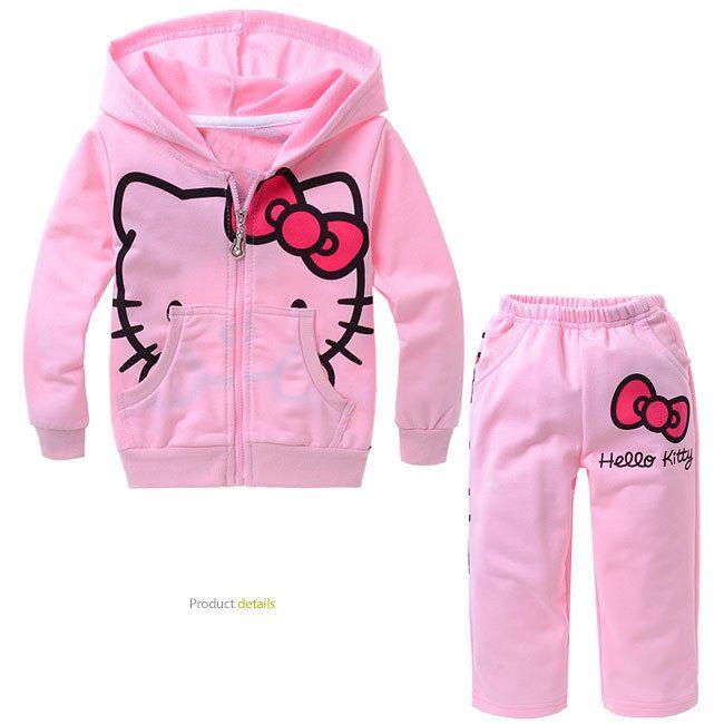 Купить товарДевочки костюм дети в одежда комплект Hello Kitty длинный рукав дети толстовки + брюки младенцы дети одежда комплект костюм с20 в категории Комплекты одеждына AliExpress.       Размер = 95/100/110/120/130 см