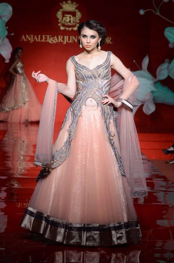 Peach color indo western gown rr pinterest peach for Indian fusion wedding dress