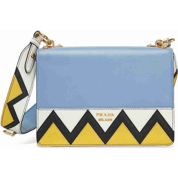 Prada Saffiano Leather Medium Crossbody - Blue White and Yellow (€1.220) ❤ liked on Polyvore featuring bags, handbags, shoulder bags, purses, purse shoulder bag, handbags crossbody, prada shoulder bag, handbag purse and prada purses