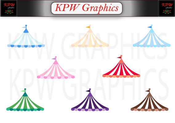 Circus Carnival Tent Top Set 2 in PNG (300ppi) format, Personal & Small Commercial use by KPWgraphics on Etsy