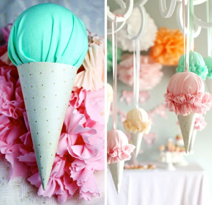 Summer Craft Ideas, Ice Cream Cone Decoration, Made From Turquoise, And  Grey Polka