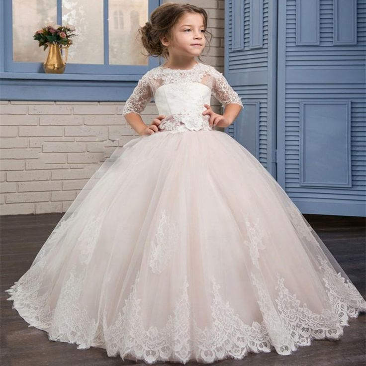 Find More Flower Girl Dresses Information about New Tulle Lace Flower Girl Dresses 2017 Half Sleeve A Line Girl Pageant Dress Long First Communion Dresses,High Quality dress white dress,China dress check Suppliers, Cheap dress accent from Galaxy Wedding Dress Co., Ltd. on Aliexpress.com