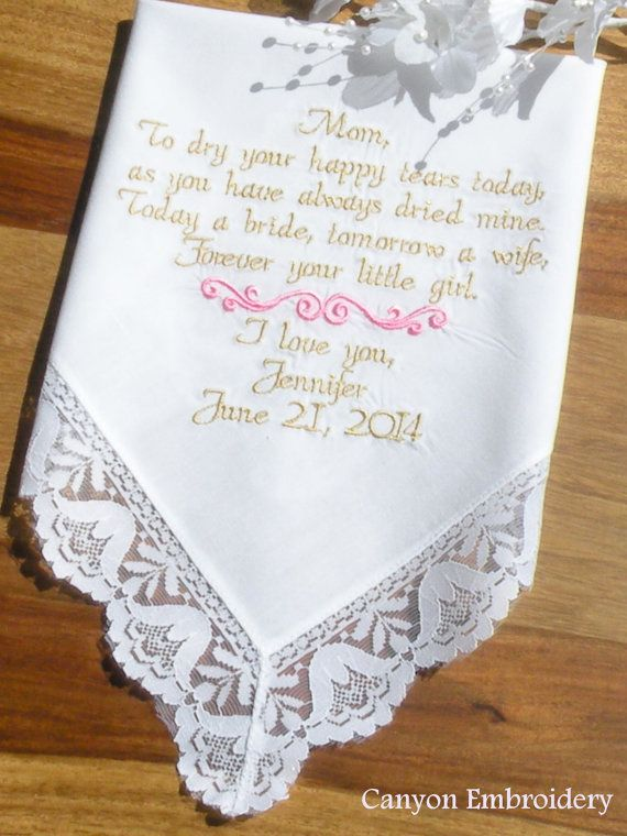 Embroidered Wedding Handkerchief Mother Of The Bride To Dry Your Hy Tears Lacy Bell Hanky By Canyon Embroidery