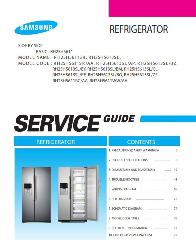 Samsung Rh25h5611sr Rh25h5613sl Rh25h5611bc Rh25h5611ww Service Manual Appliance Repair Shop Samsung Refrigerator Repair Guide