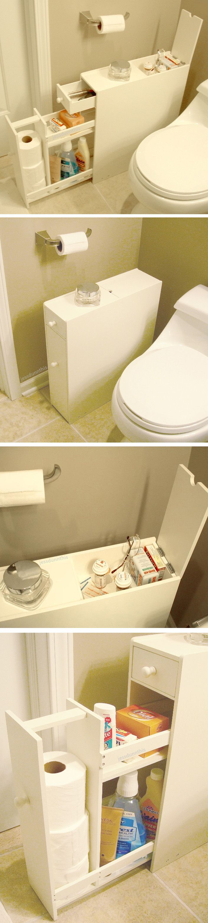 Bathroom space saver floor cabinet // stores up to 12 rolls of toilet paper and fits beside the closet - brilliant idea! #product_design