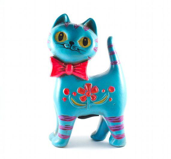 Aqua Cat Piggy Bank w Neon Pink Bow and Flowers by TheBabyDynosaur, $19.99