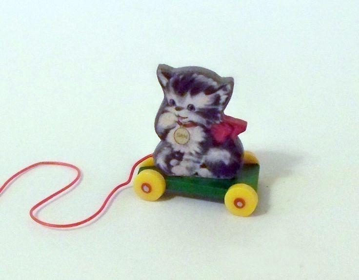 Miniature Kitten Pull Toy KIT Dollhouse by TwelfthDimension on Etsy https://www.etsy.com/listing/49015976/miniature-kitten-pull-toy-kit-dollhouse