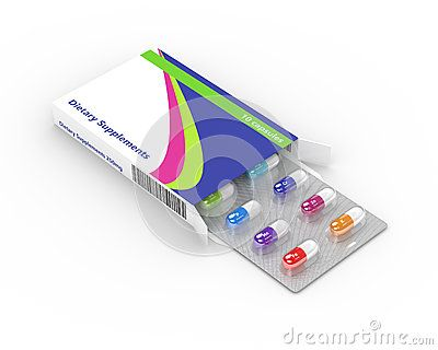 3d rendering of dietary supplements pills blister in pack isolated over white