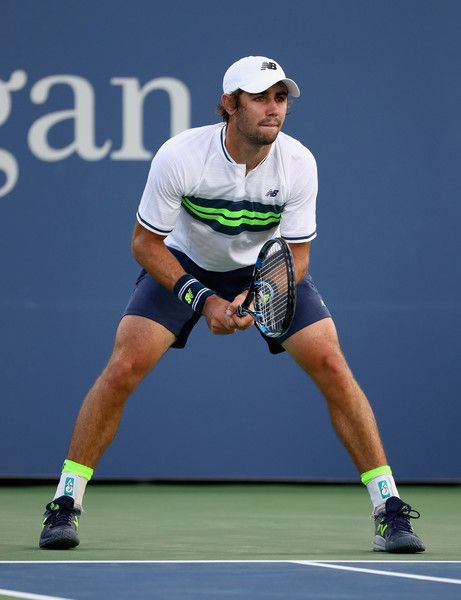 Jordan Thompson of Australia returns a shot during his first round Men's Singles match against Jack Sock of the United States on Day One of the 2017 US Open at the USTA Billie Jean King National Tennis Center on August 28, 2017 in the Flushing neighborhood of the Queens borough of New York City.