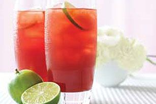 Raspberry Ice Cooler recipe - Refreshing raspberry flavor with a zing of grapefruit juice: a way-cooler way than soda to chill out. Making it even cooler: It's low-cal.