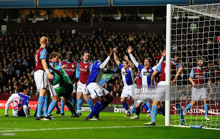 Nikola Kalinic scores a goal for Blackburn Rovers during the Carling Cup Semi-Final, second leg match between Aston Villa and Blackburn Rovers at Villa Park on January 20, 2010 in Birmingham, England.