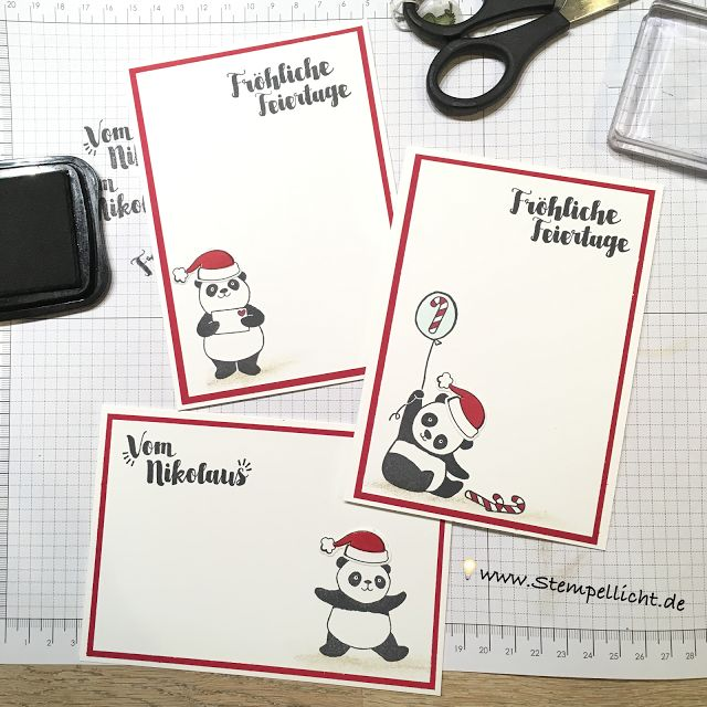 Stamp light: Christmas cards with party pandas from Stampin'Up!