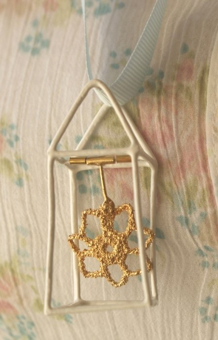 Ebba Goring - Golden Home Pendant (cotton thread, silver, 22ct gold plate, powder coated metal, ribbon)