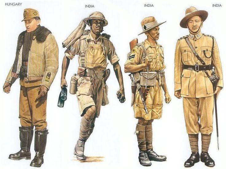 World War II Uniforms - Hungary - 1943 May, Southern USSR, Lieutenant, Fighter Squadron India - 1940 Dec., North Africa, Sergeant, 8th Indian Division India - 1941 Dec., Malaya, Corporal, 9th Gurkha Rifles India - 1942 June, Burma, Subedar-Major, 20th Burma Rifles