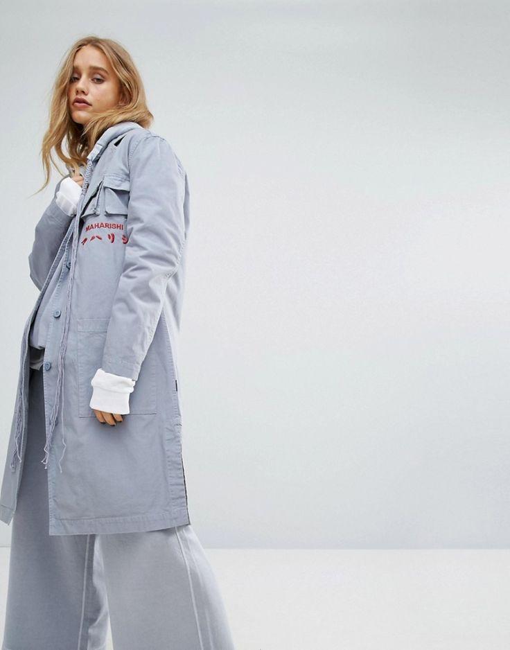 #Damen Maharishi – Lab – Mantel mit Logo vorn – Blau, Gr. 36,38,40, 2201462108183