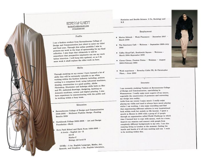 fashion example cv