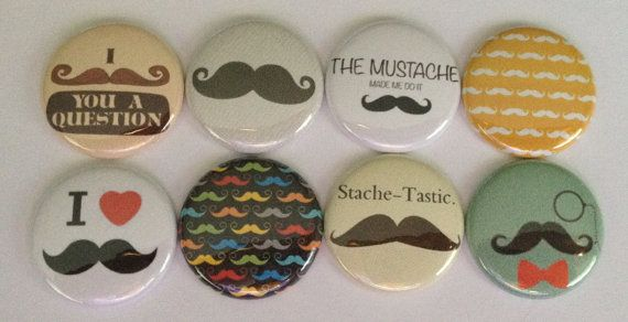 Mustache Sayings flat back flair button set by TheFlairShop, $4.00
