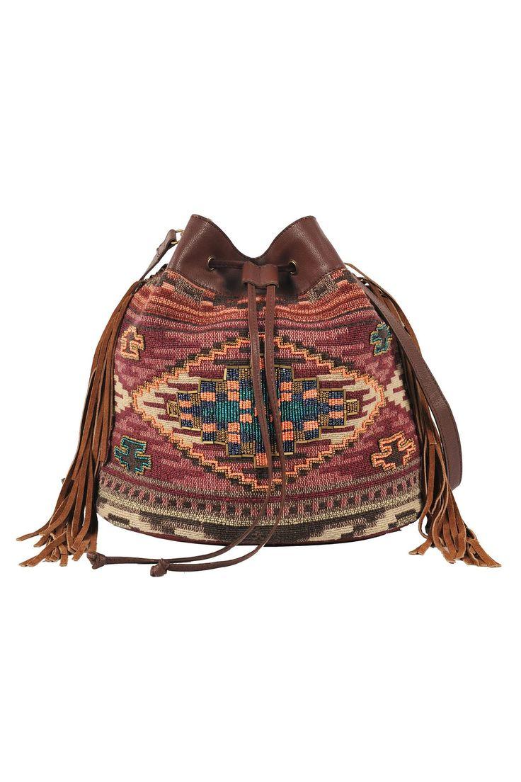 Sac en coton style indien avec franges. autre Sebastopol Derhy, Couleur Marron. Voir cette image